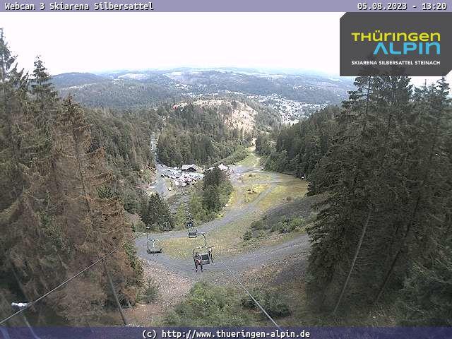 Blick in die Ski- und Bikearena Silbersattel und nach Steinach